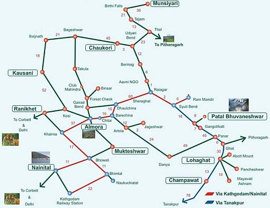 Route Map To Kausani From Kathgodam - Kathgodam To Kausani