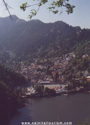 Eagles Eye View of Nainital Lake and Naina Peak (top left) from DSB Campus