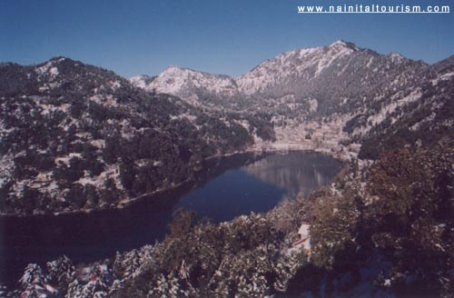 View of Nainital Lake and Naina Peak - China Peak during the Snowfall