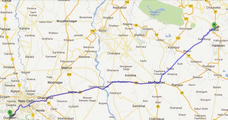 gurgaon to nainital road map