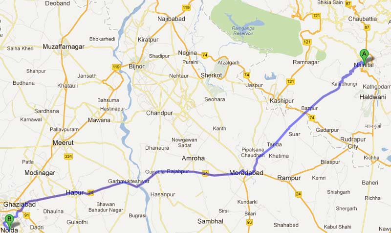 noida to nainital road map